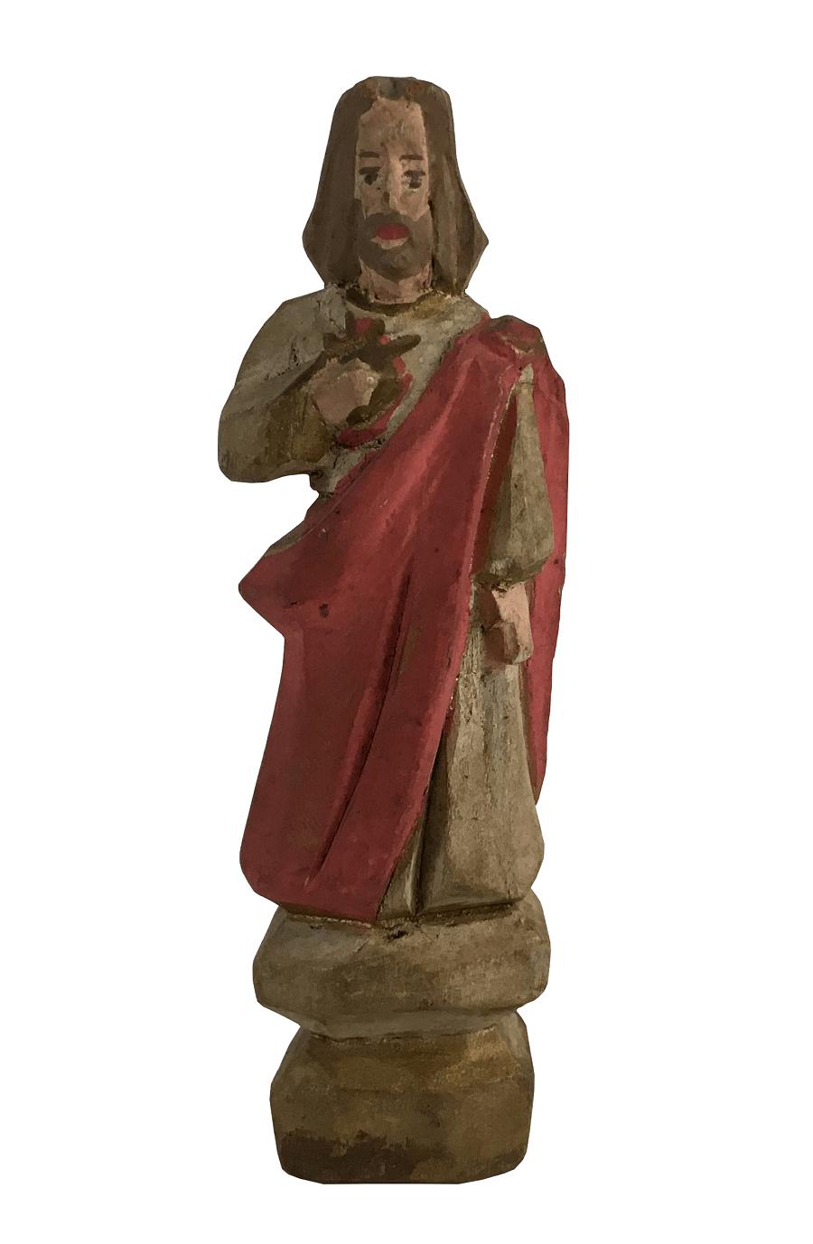 Antiga Imagem Sacra Sagrado Coraçao De Jesus Santo Madeira