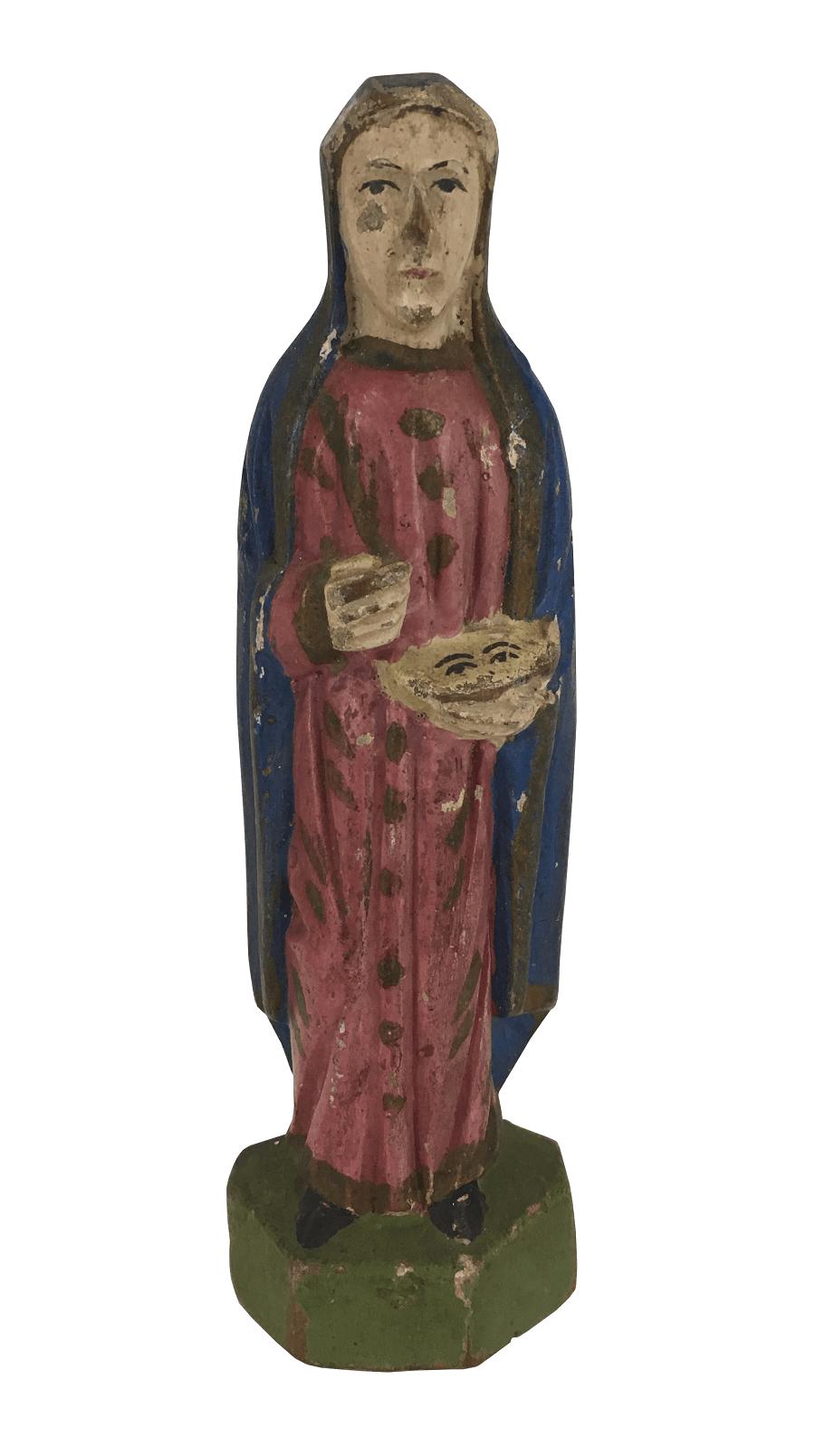 Antiga Imagem Sacra Santa Em Madeira