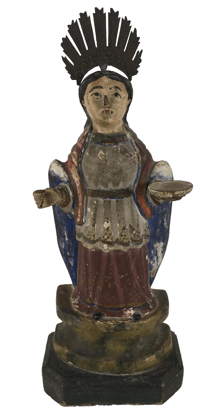 Antiga Imagem Santa Luzia Em Madeira