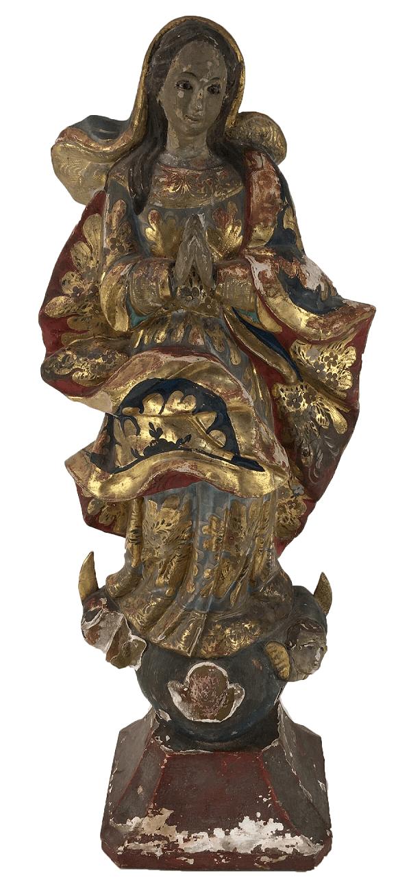 Antiga Imagem Santa Madeira Nossa Senhora Policromia Ouro 53cm