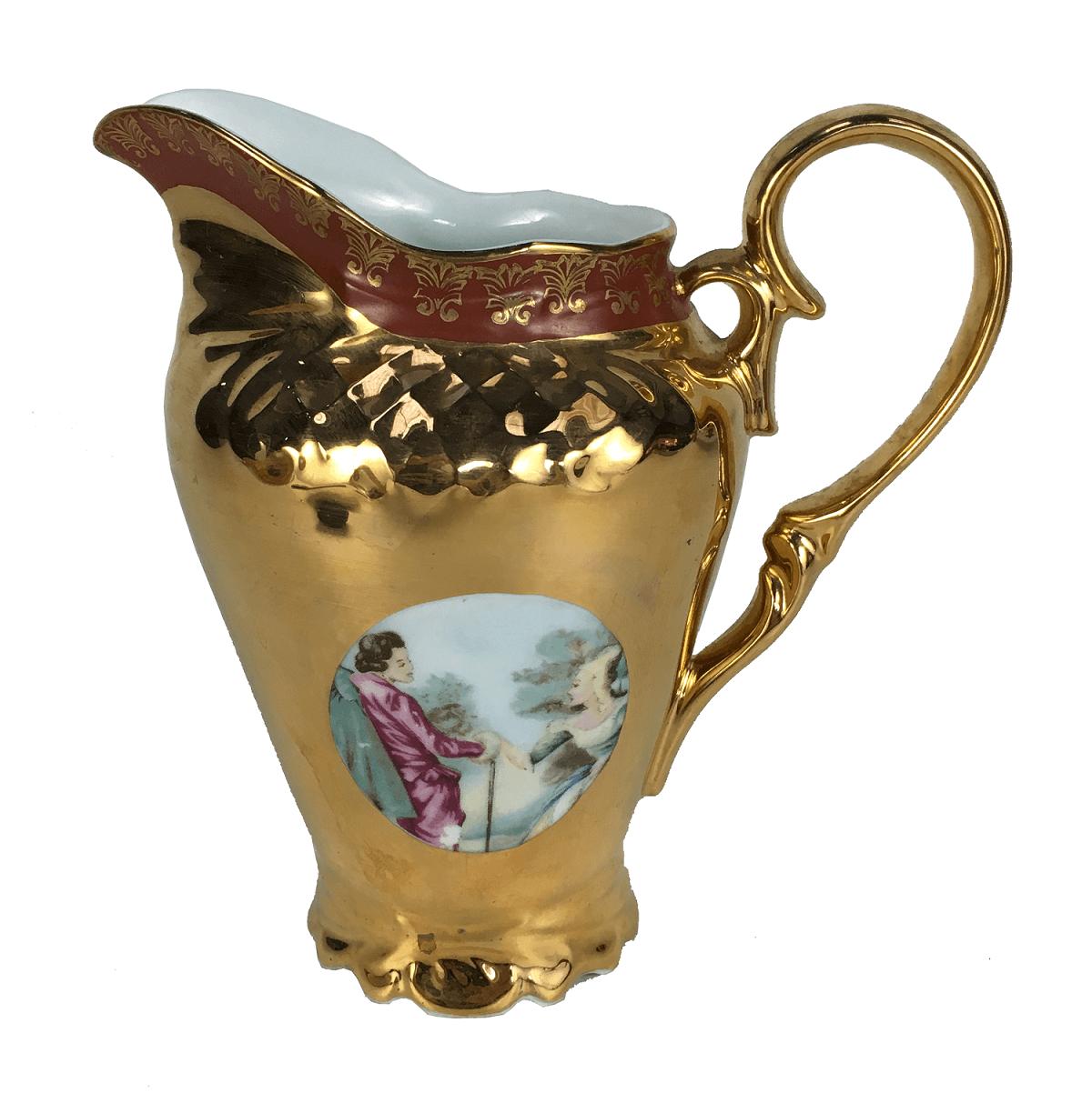 Antiga Leiteira Porcelana Ouro Cena Galante