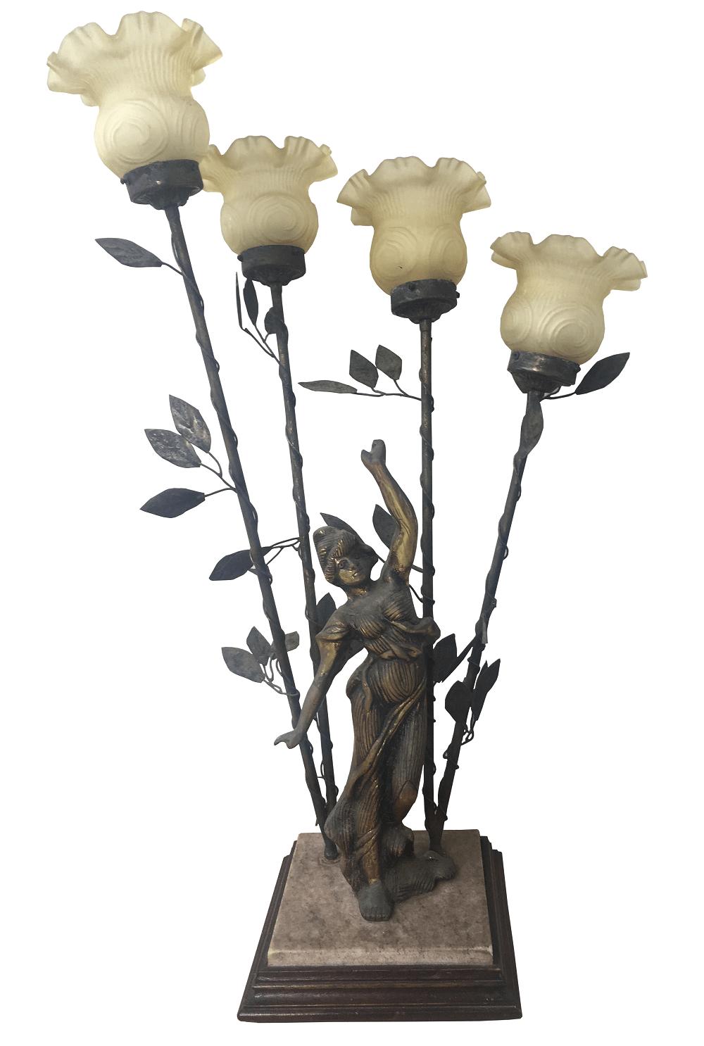 Antiga Luminaria Abajur Em Bronze 4 Cupulas