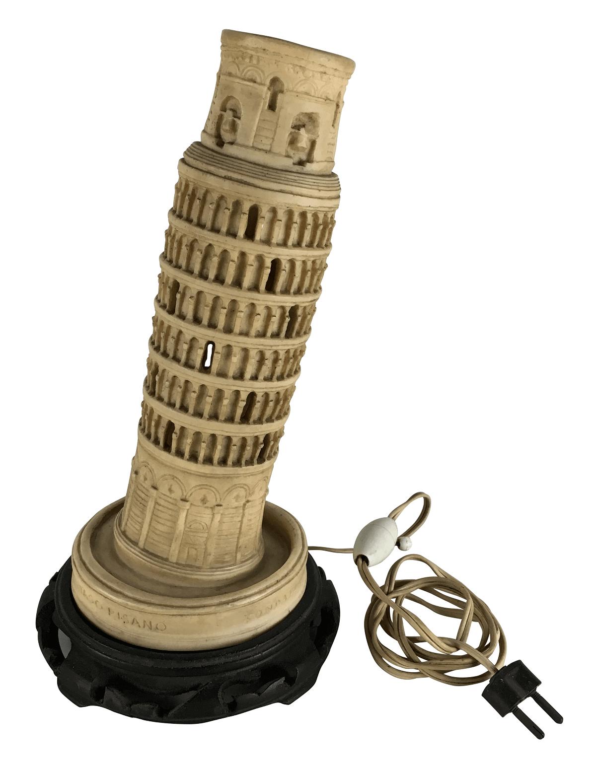 Antiga Luminaria Abajur Torre De Pisa Italiana