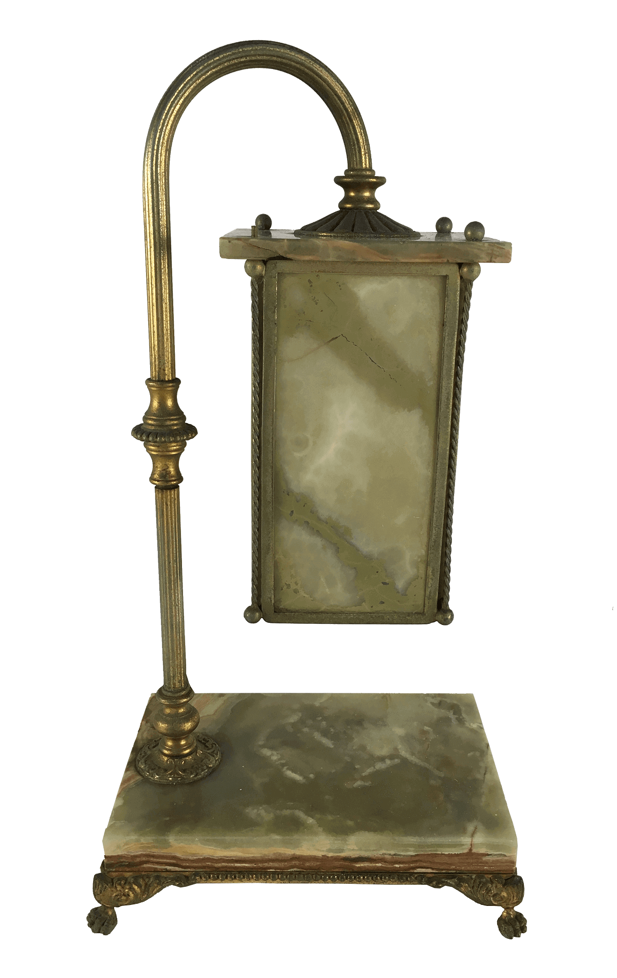 Antiga Luminaria De Mesa Em Alabastro E Bronze Belissima