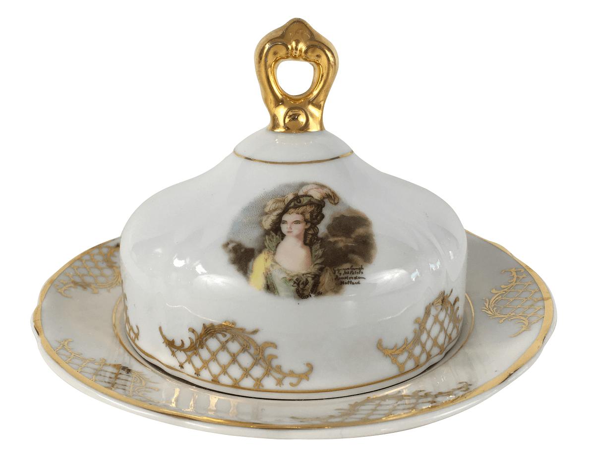 Antiga Mantegueira Em Porcelana Real Detalhe Dourado