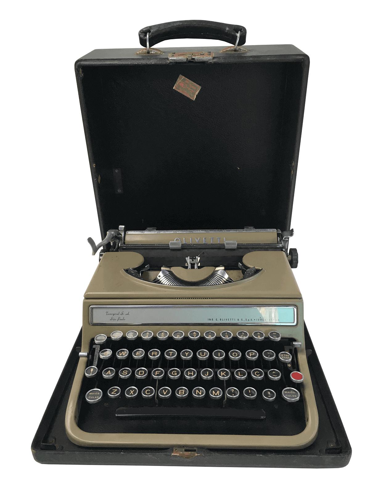 Antiga Maquina De Escrever Olivetti Na Caixa