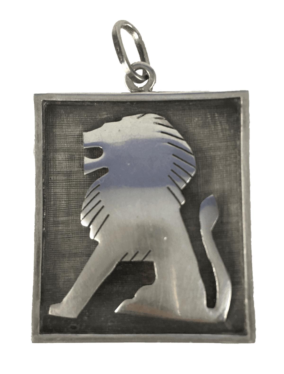 Antiga Medalha Ou Pingente Leao Prata 925