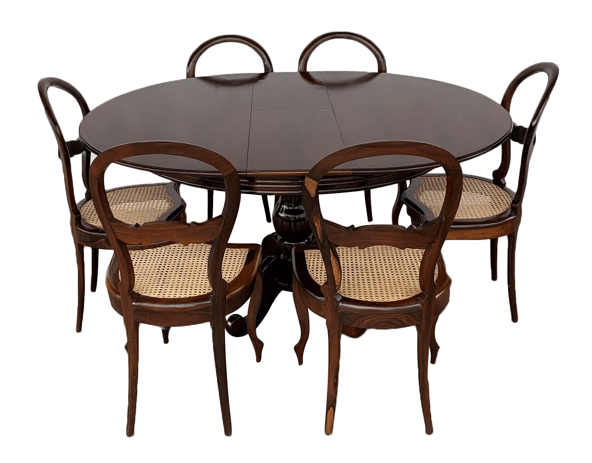 Antiga Mesa De Jantar 6 Cadeiras Jacaranda E Palhinha