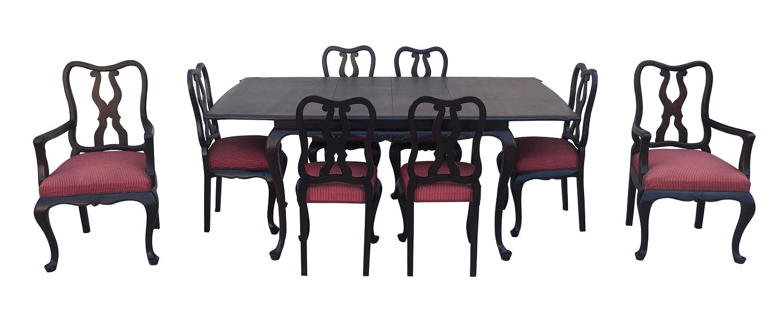 Antiga Mesa De Jantar 8 Cadeiras Chipandelle Jacaranda