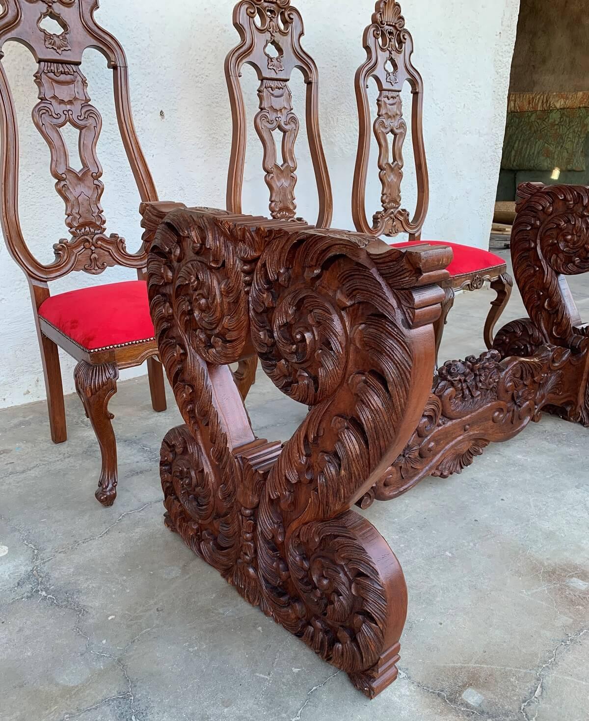 Antiga Mesa De Jantar 8 Cadeiras Estilo Dom Jose