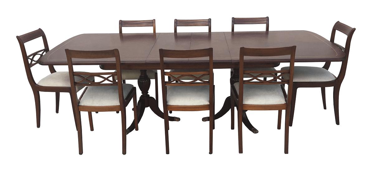 Antiga Mesa De Jantar 8 Cadeiras Inglesa Madeira Nobre