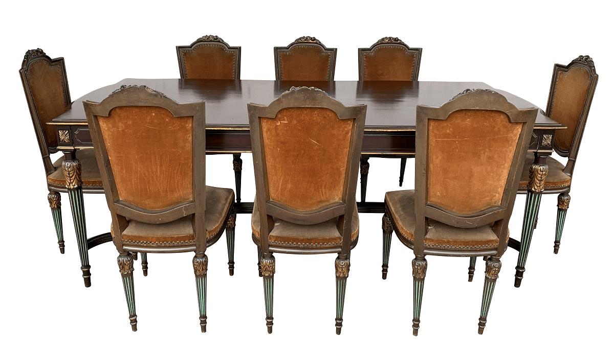 Antiga Mesa de Jantar 8 Cadeiras Luis Xvi