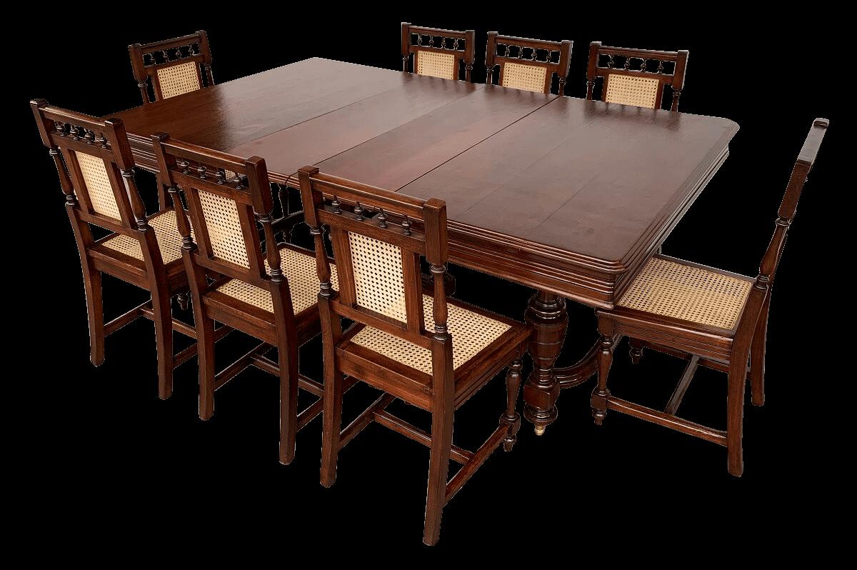 Antiga Mesa De Jantar Imperio 8 Cadeiras Palhinha