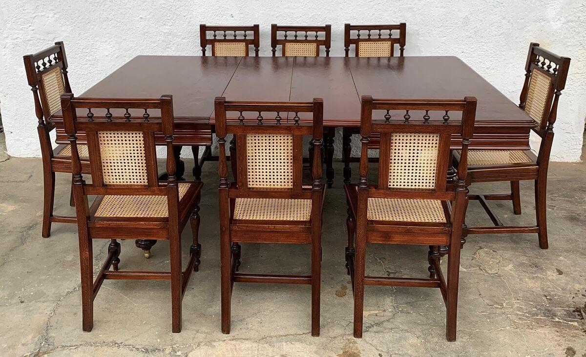 Image of: Antiga Mesa De Jantar Imperio 8 Cadeiras Palhinha Imperio Dos Antigos Loja De Moveis E Objetos De Decoracao Antigos