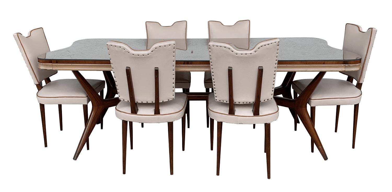 Antiga Mesa De Jantar Pe Palito Anos 50 Com 6 Cadeiras