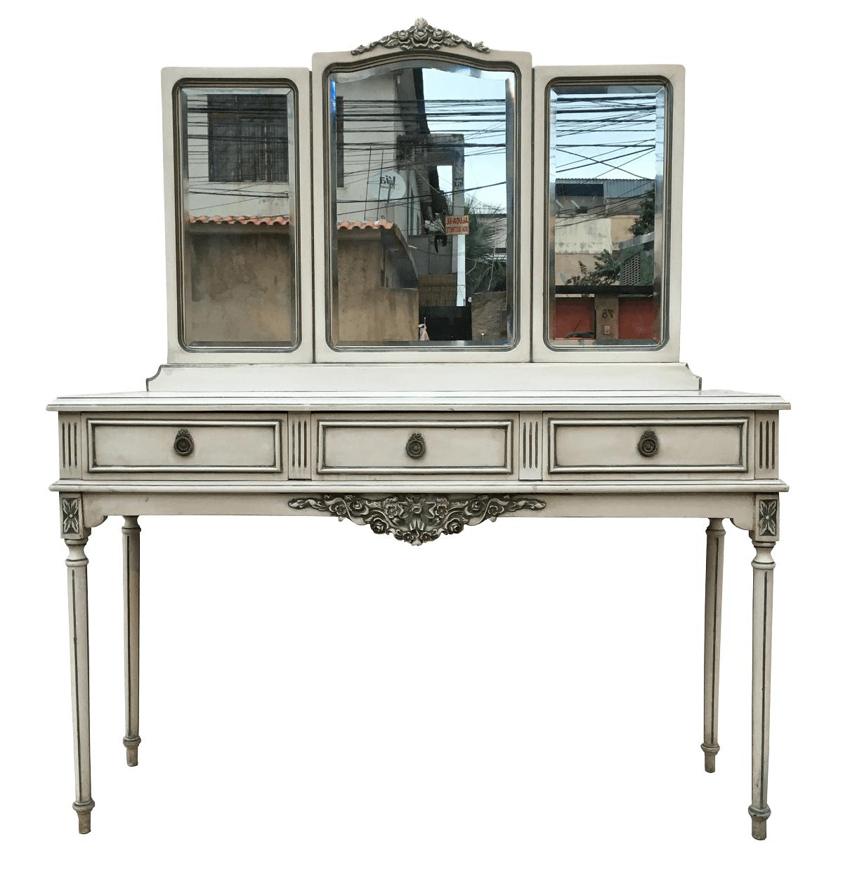 Antiga Penteadeira Luis XVI Patina 3 Espelhos Bisotados