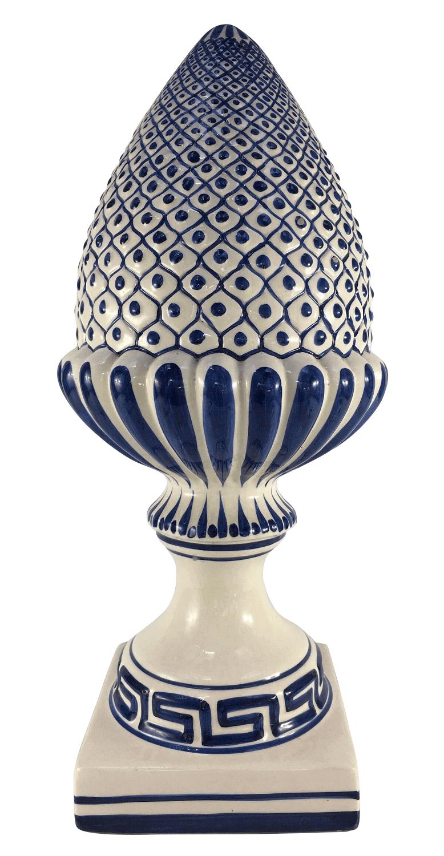 Antiga Pinha Grande Ceramica Luiz Salvador 57cm Azul E Branco