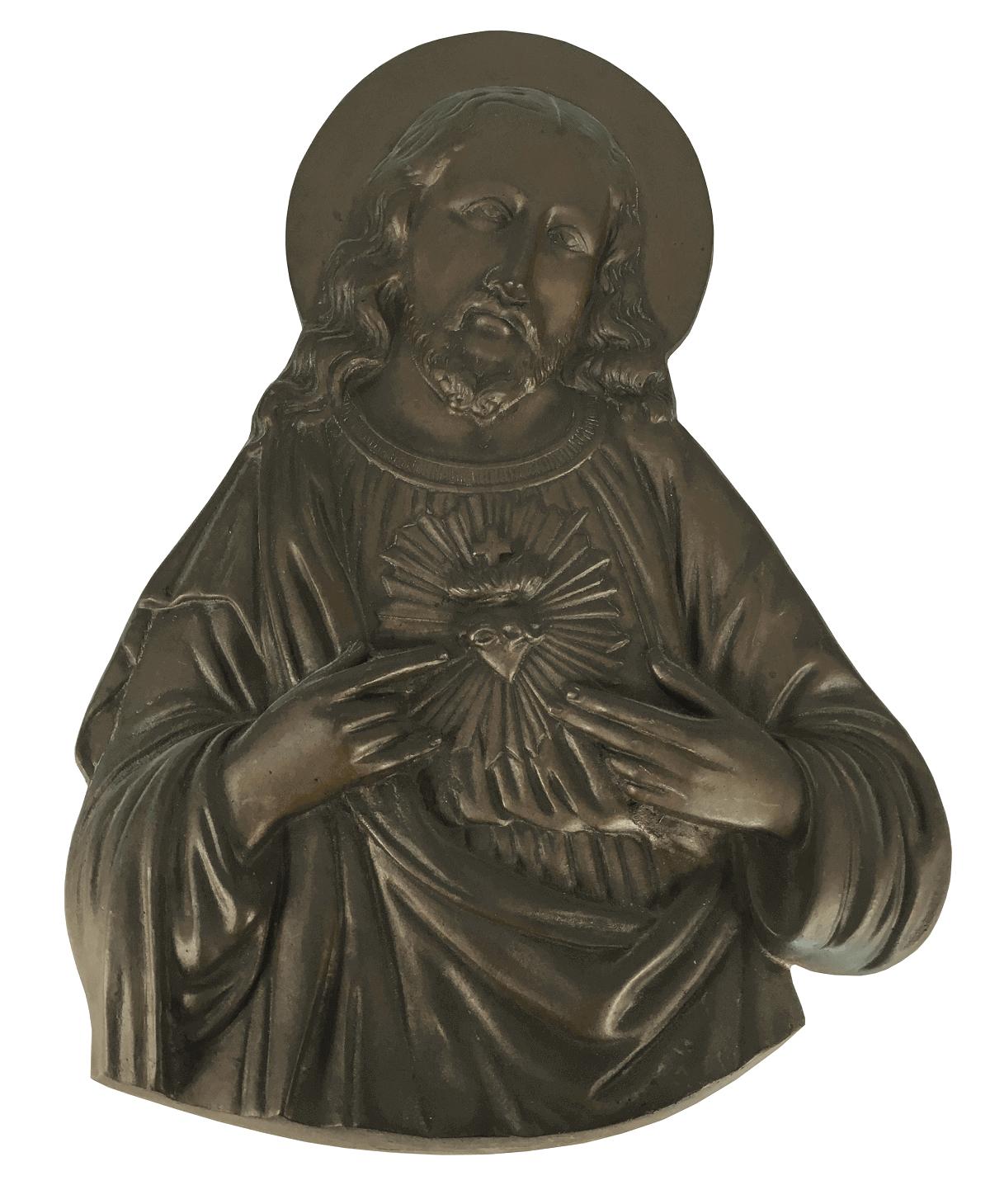 Antiga Placa Sagrado Coraçao De Jesus Em Bronze