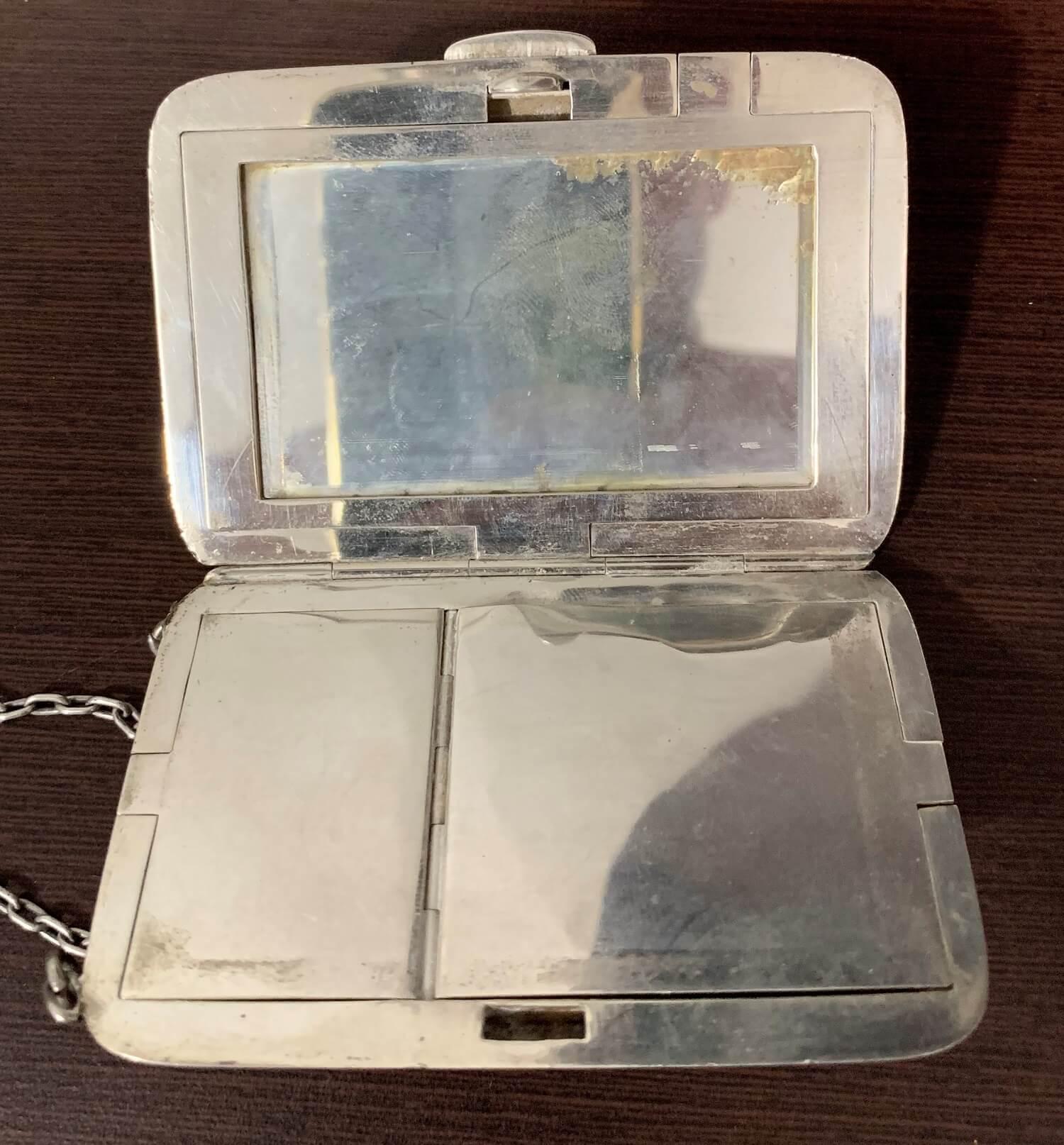 Antiga Porta Maquiagem Prata De Lei Sterling