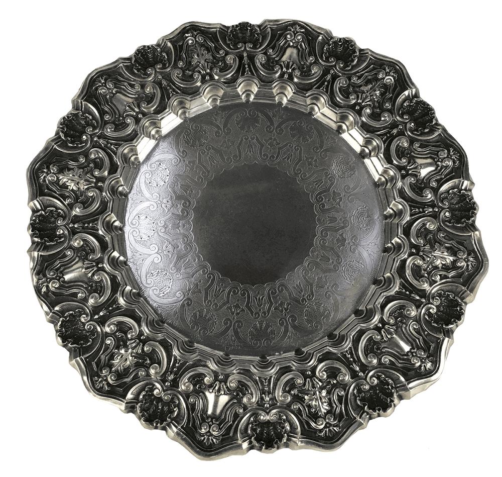 Antiga Salva Prato Medalhao Prata De Lei Portuguesa