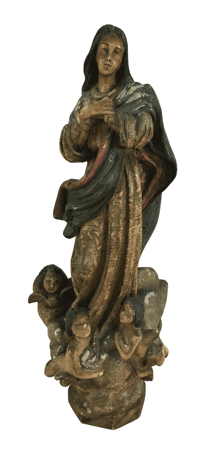 Antiga Santa Em Madeira Nossa Senhora Da Conceiçao Arte Sacra