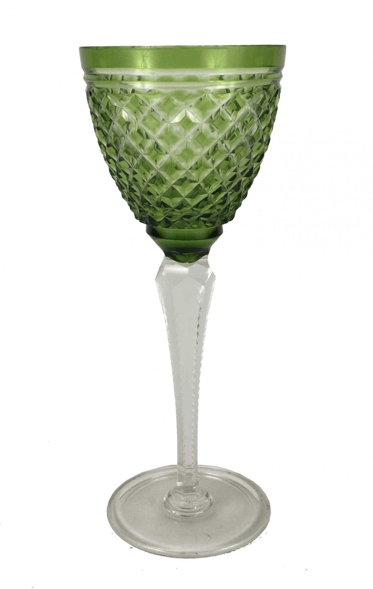 Antiga Taça Cristal Europeu Verde Lapidada