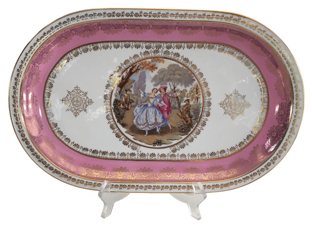 Antiga Travessa Em Porcelana Bavaria Detalhes Rosa E Ouro