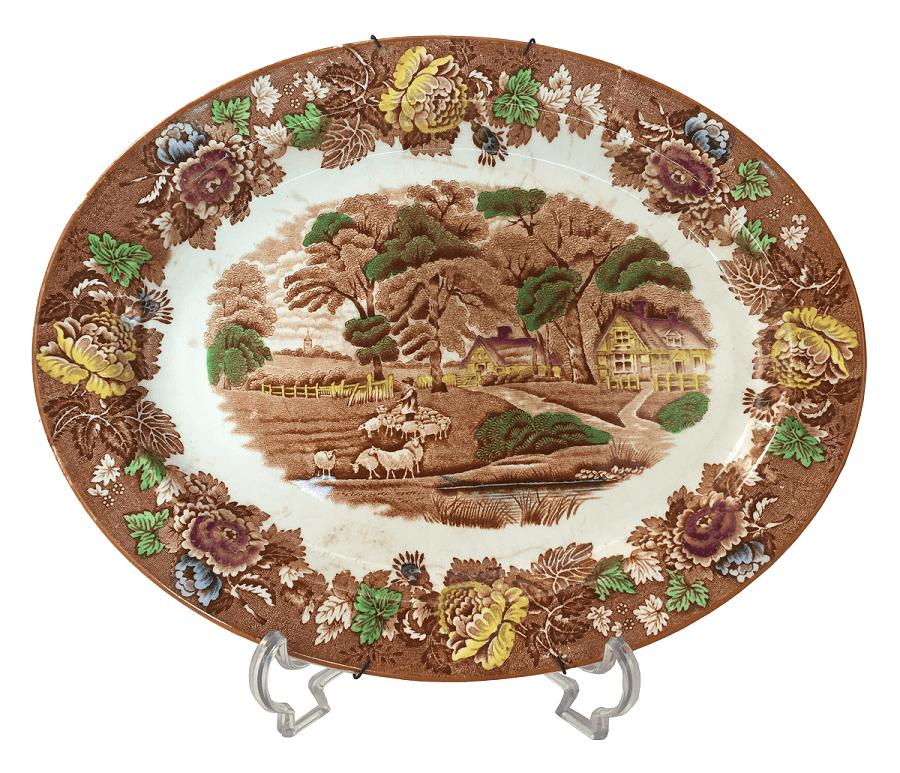 Antiga Travessa Fazendinha Porcelana Inglesa Woods Ware