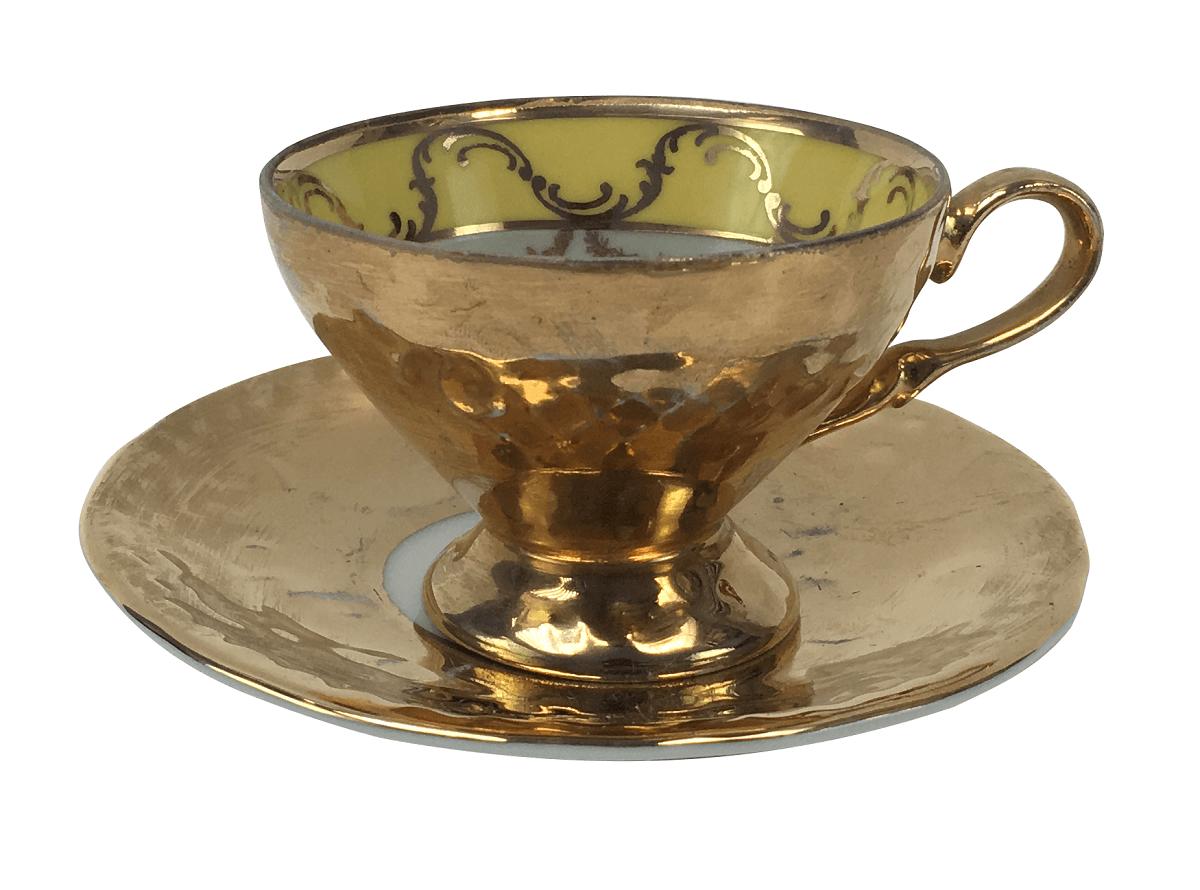 Antiga Xicara Cafe Porcelana Polovi Ouro Cena Galante