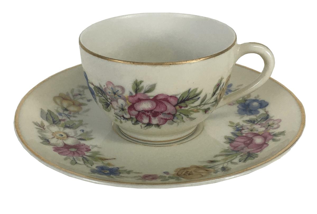 Antiga Xicara De Cafe Em Porcelana Limoges Motivos Florais