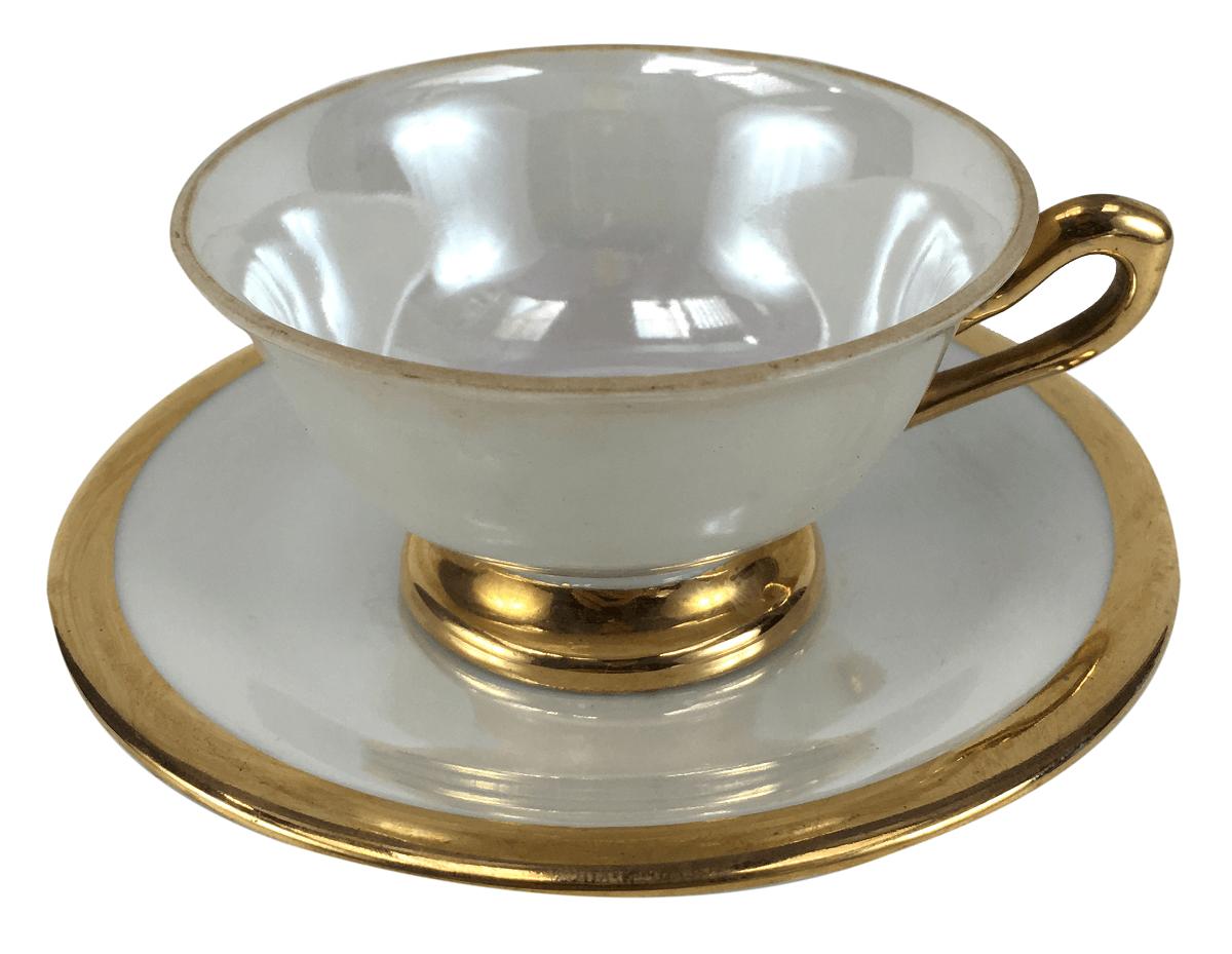 Antiga Xicara De Cafe Porcelana Ars Bohemia Borda De Ouro