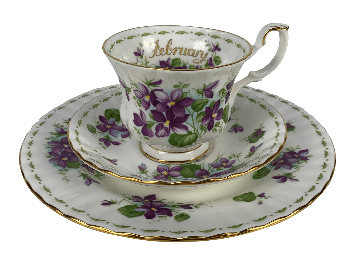 Antiga Xicara De Cha Porcelana Royal Albert Inglesa February