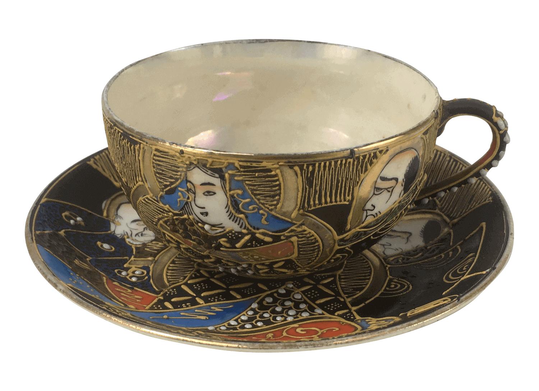 Antiga Xicara De Cha Porcelana Satsuma Japonesa