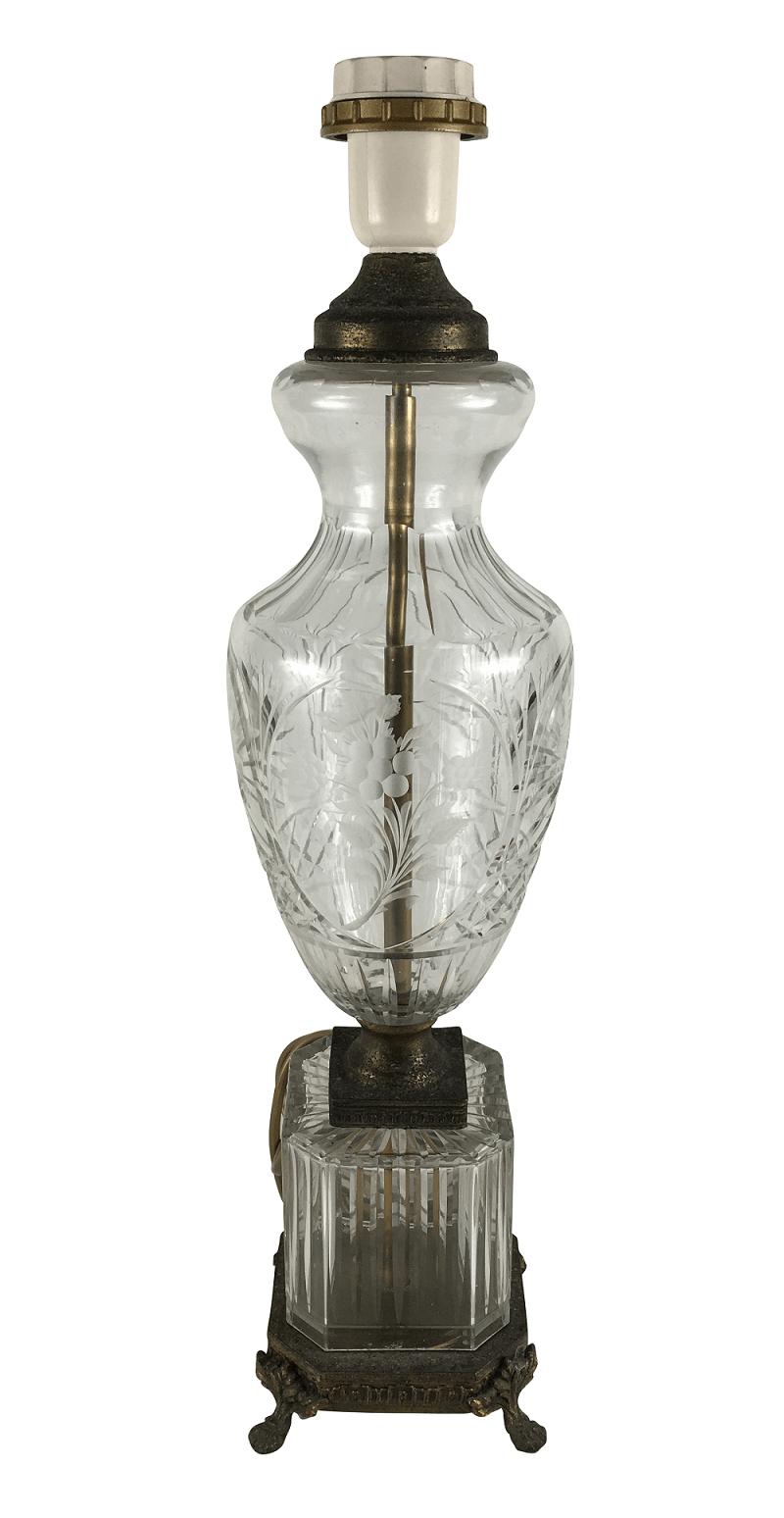 Antigo Abajur Cristal Lapidado E Metal