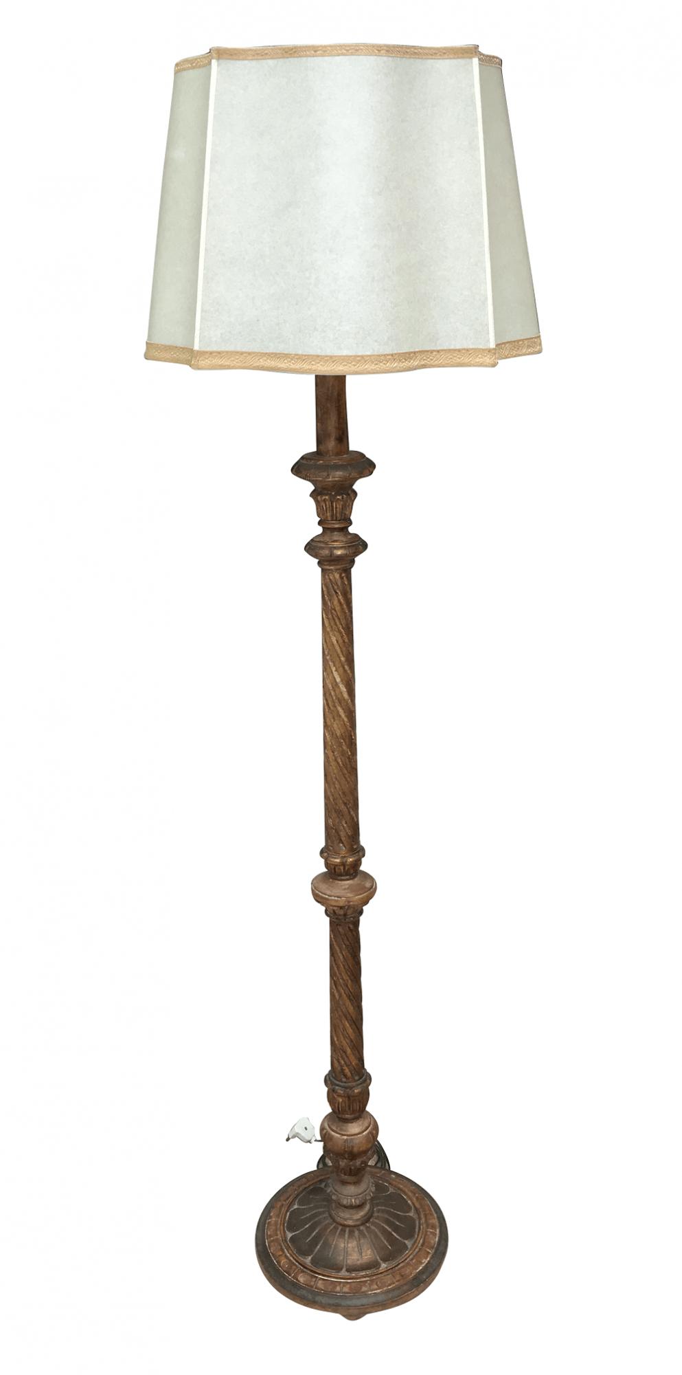 Antigo Abajur Pedestal Madeira Ouro Envelhecido