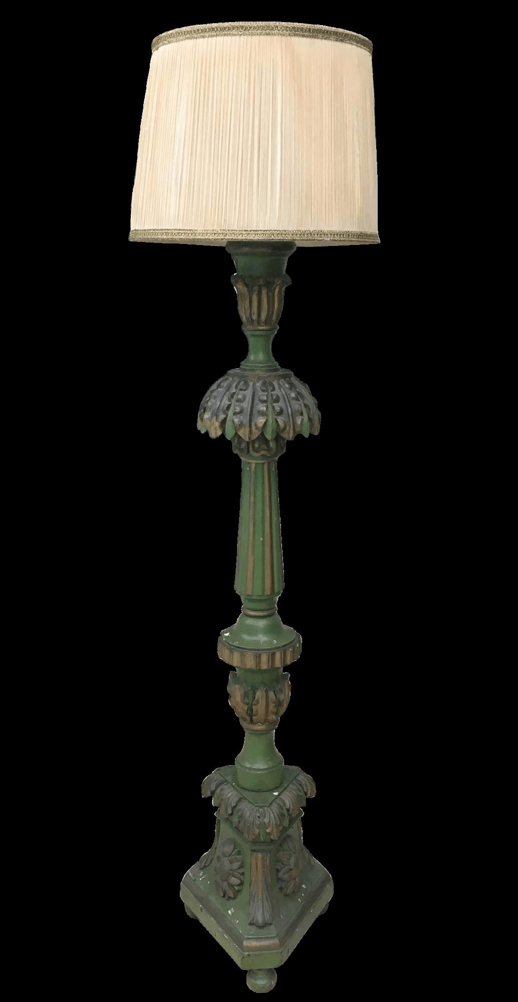 Antigo Abajur Tocheiro Pedestal Verde 190cm