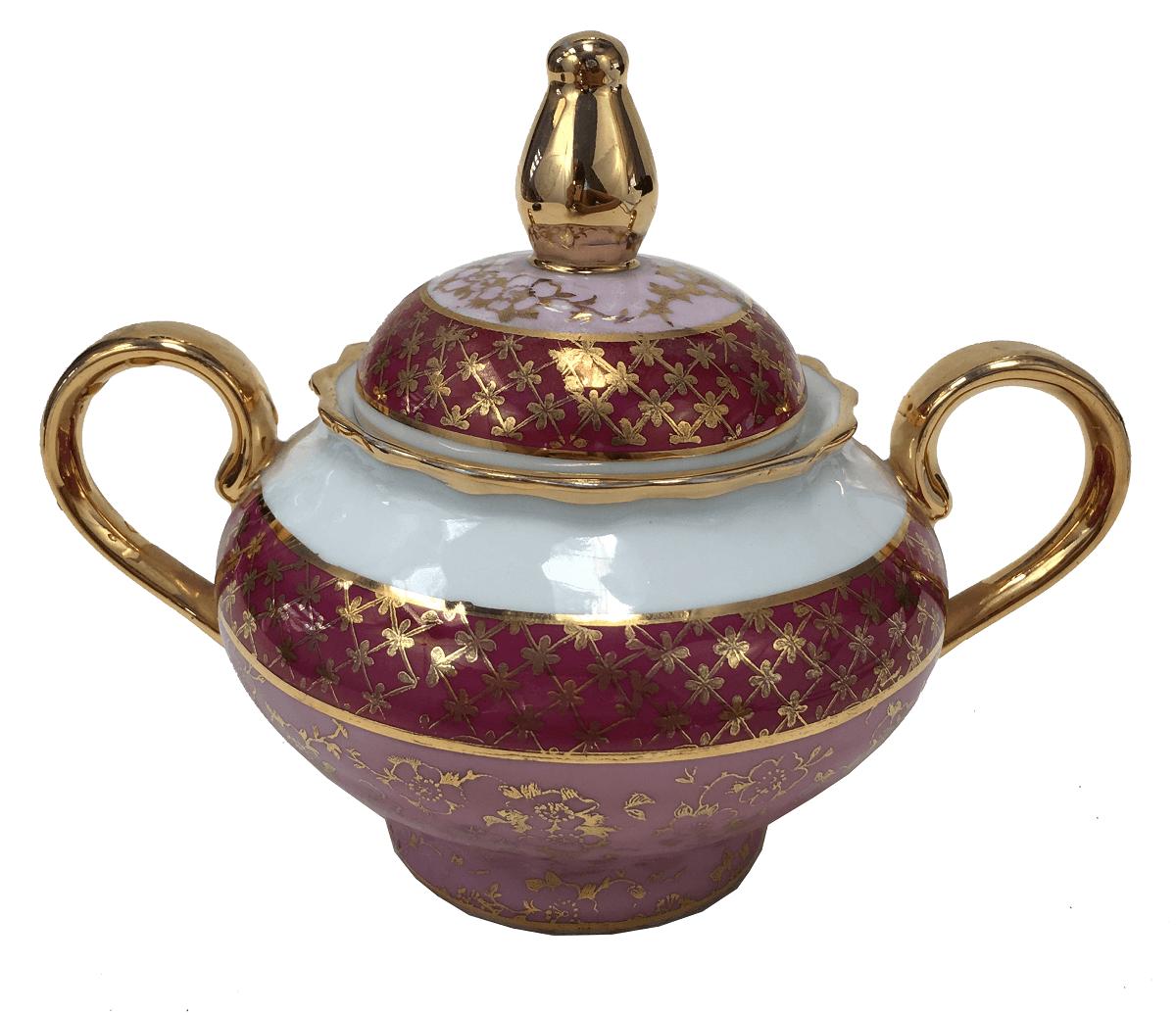 Antigo Açucareiro Em Porcelana Steatita Rosa E Ouro