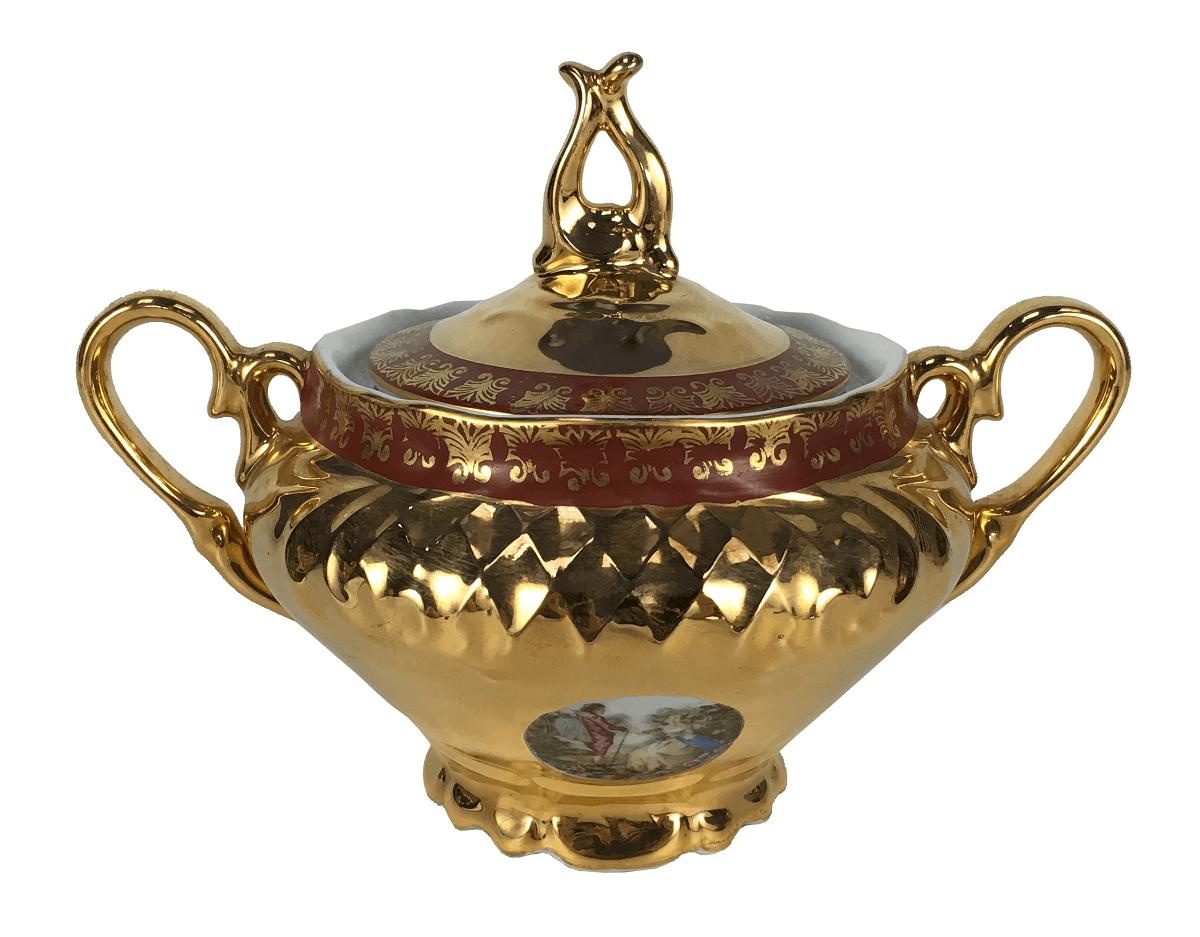 Antigo Açucareiro Porcelana Ouro Cena Galante