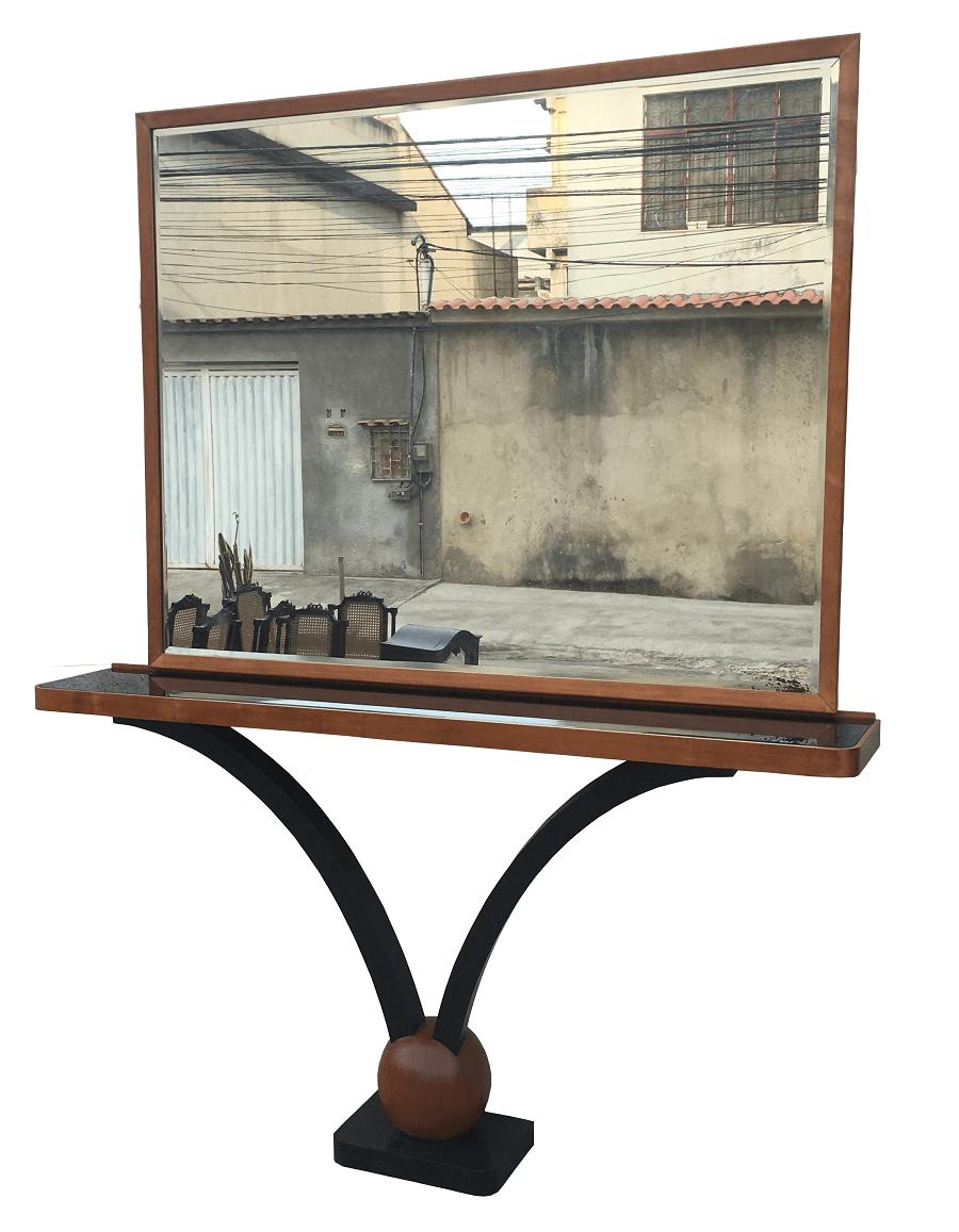 Antigo Aparador Art Deco Com Espelho Bisotado