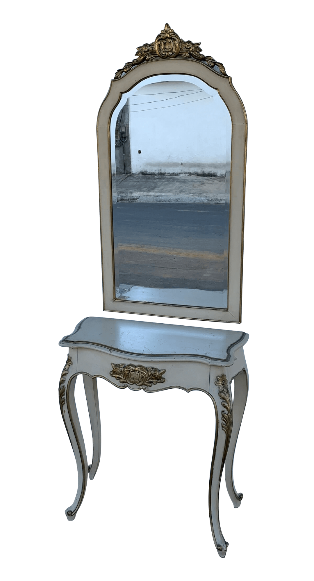 Antigo Aparador Com Espelho Luis Xv Patina E Ouro