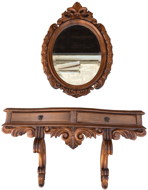 Antigo Aparador De Parede Com Espelho Cerejeira Todo Entalhado