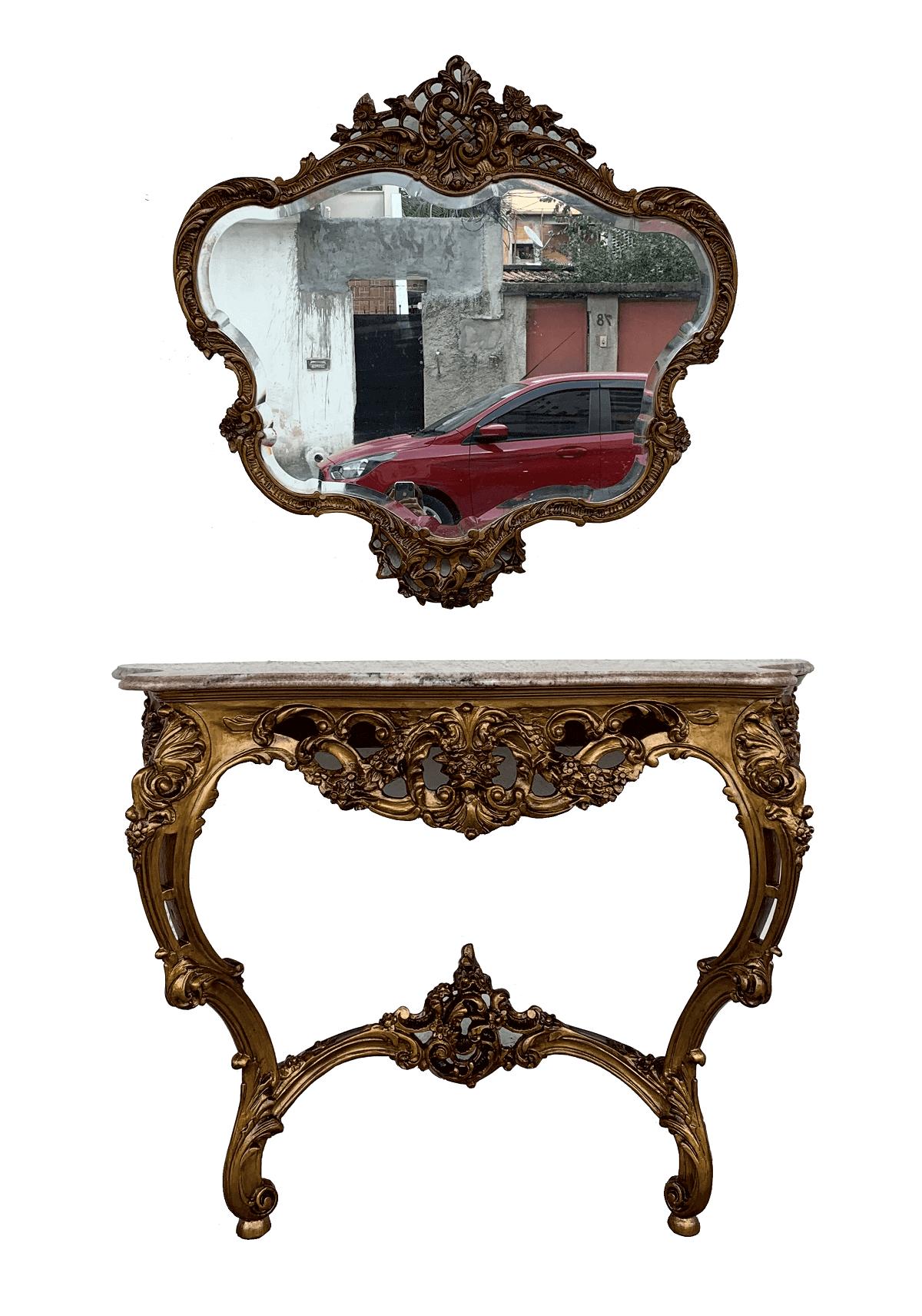 Antigo Aparador Luis Xv Com Espelho Bisotado Dourado