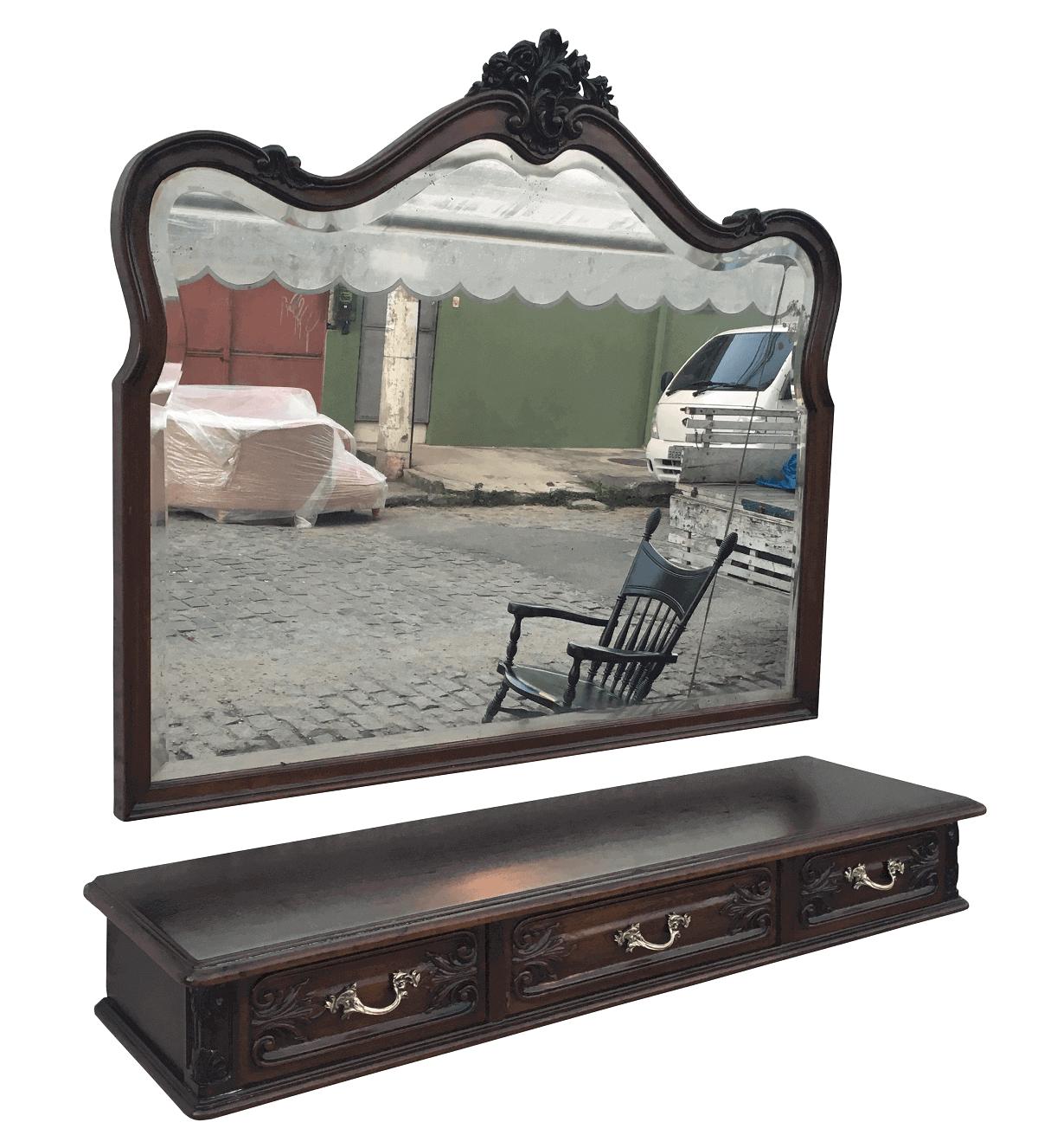 Antigo Aparador Luis Xv De Parede Com Espelho Bisotado