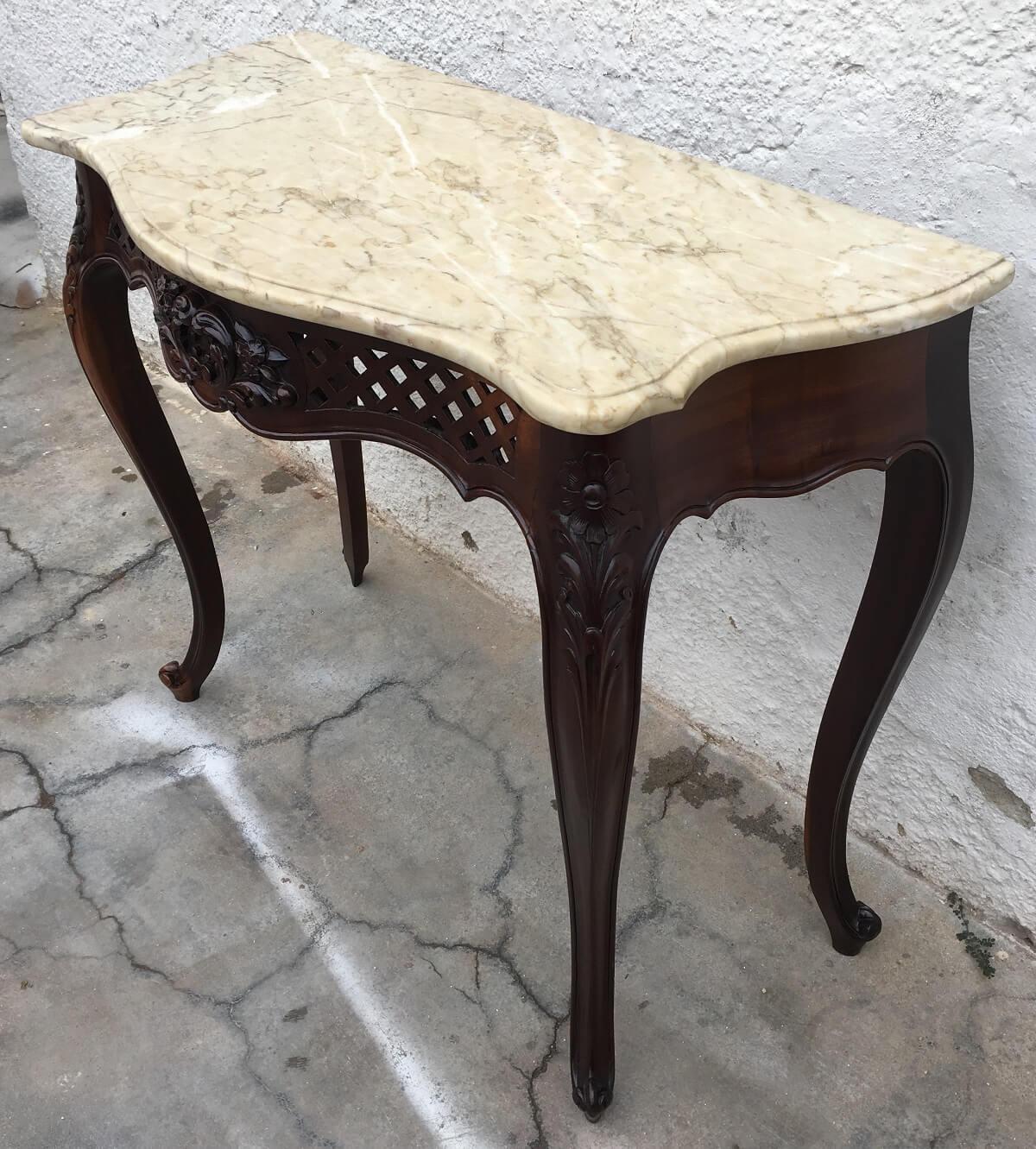 Antigo Aparador Luis Xv Madeira Nobre E Marmore
