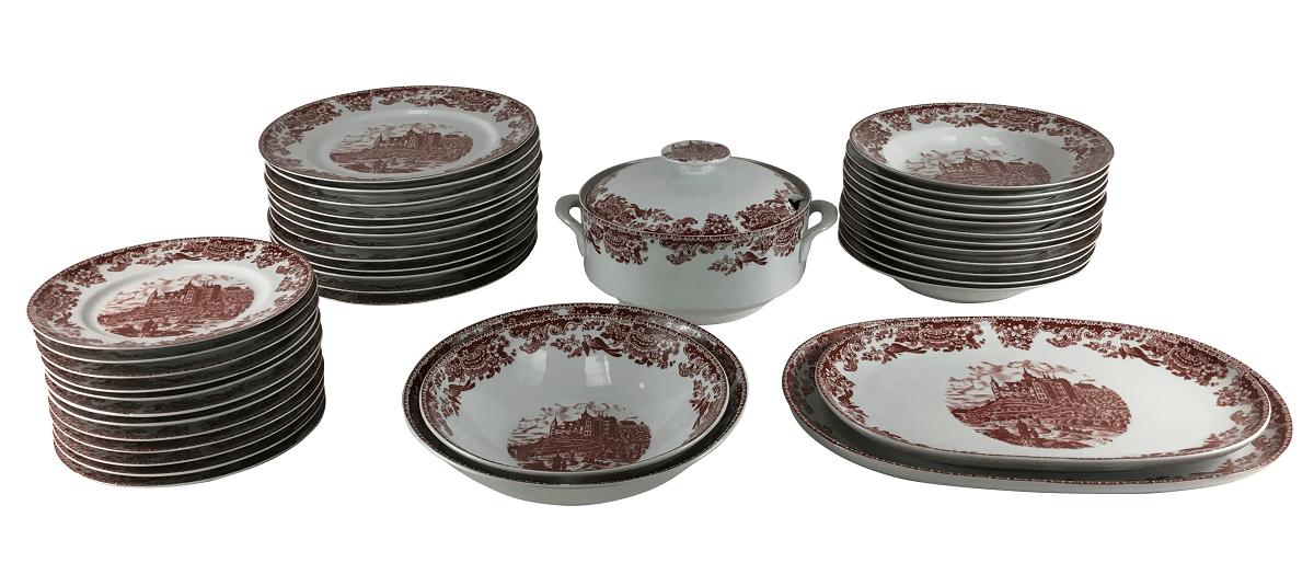 Antigo Aparelho De Jantar Porcelana Real Estilo Ingles Vermelho