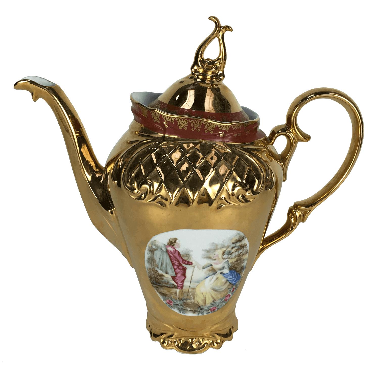 Antigo Bule De Cafe Em Porcelana Ouro Cena Galante