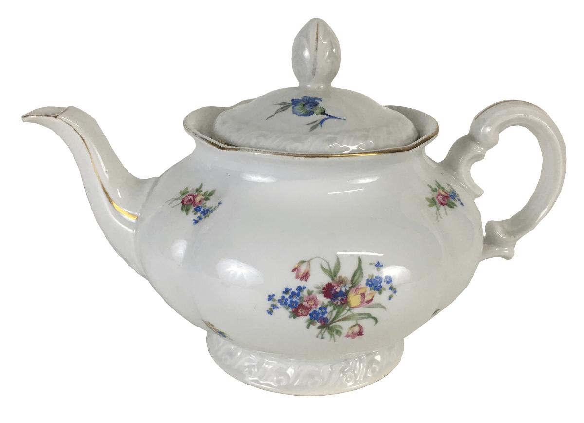 Antigo Bule De Cha Em Porcelana Tchecoslovaquia MZ Com Flores