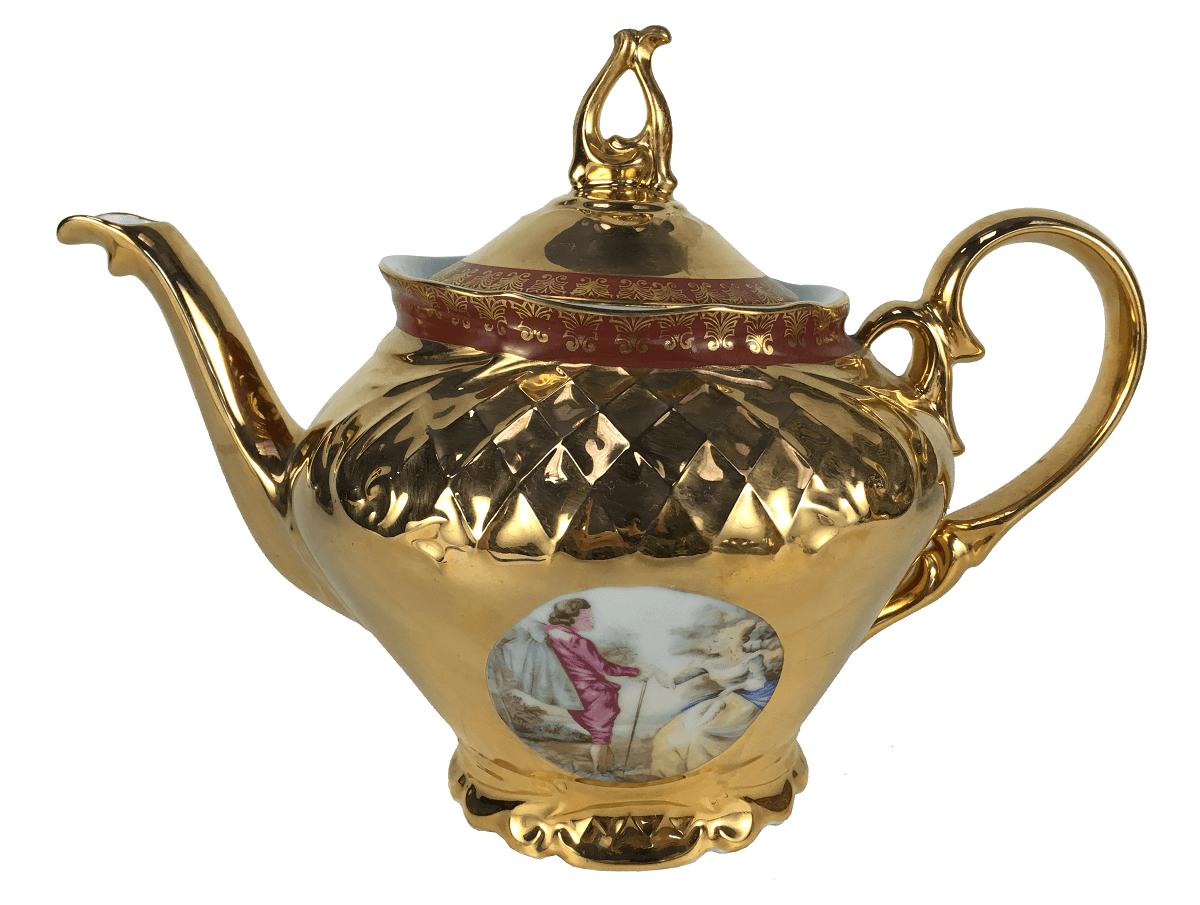 Antigo Bule De Cha Porcelana Ouro Cena Galante