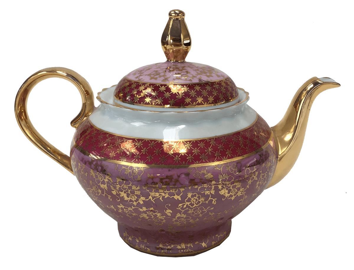 Antigo Bule De Cha Porcelana Steatita Rosa E Ouro