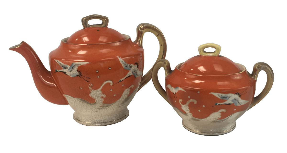 Antigo Bule E Açucareiro Porcelana Japonesa Bela Pintura